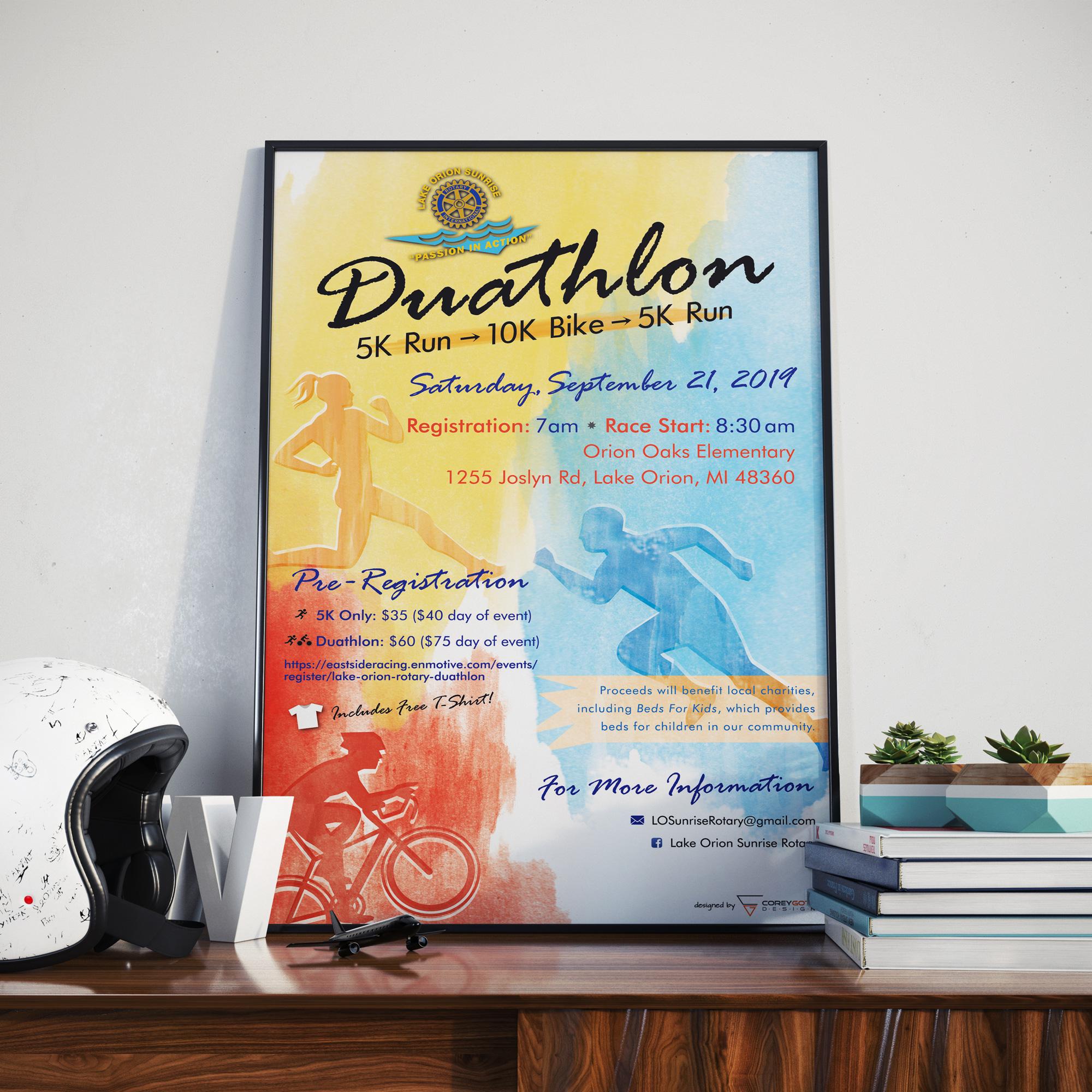 Lake Orion Rotary Duathlon 2019 Poster